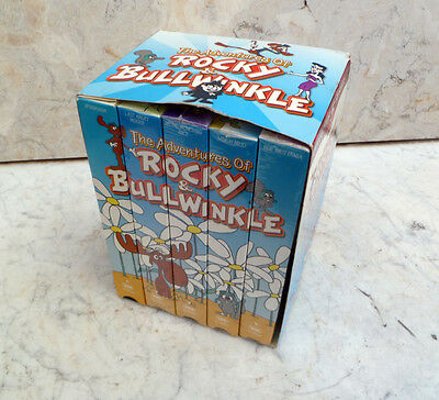 ~ the ADVENTURES of ROCKY & BULLWINKLE ~ 5 VHS TAPE SET (4 SEALED) ~ GoodTimes
