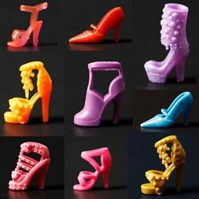 10 Pairs Set Mini Barbie Doll Shoes High Heel Boot Sandal Outfit Mix Style Party