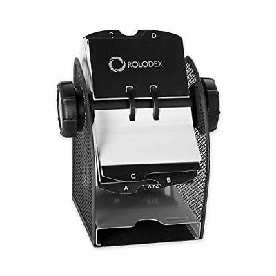 Rolodex Two-Tone Mesh Rotary Business Card File, 200-Card, Black and Silver