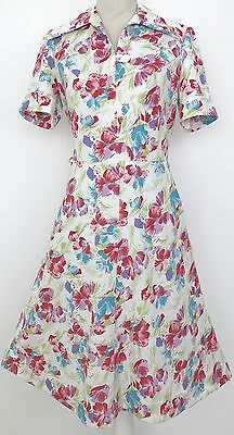 Vintage 1960s White Red Pink Purple Blue Green Floral A-line Dress M