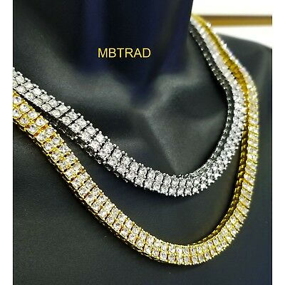 14k White Gold Silver 2 ROW Clear Czech CZ Iced Out Hip Hop Chain Necklace Combo