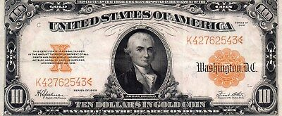 1922-10.00 Large Gold Certificate Speelman/White in VF/XF