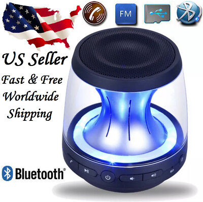 Wireless Bluetooth Speaker Mini Portable Super Bass Luminous Lamp Rechargeable