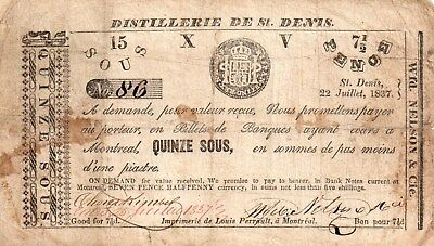 1837-15 Sous/7 1/2 Pence Montreal Note From Canada.!