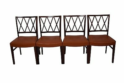 Four Danish mid century rosewood dining chairs, Ole Wanscher, leather upholstery