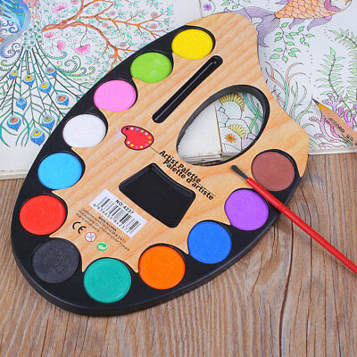 Outdoor 12 Colors Solid Watercolor Paint Pigment Art Painting Set For Artist
