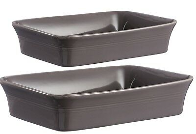 Mason Cash Set of 2 Stoneware Rectangle Oven Dish - Dark Grey Baking Tray