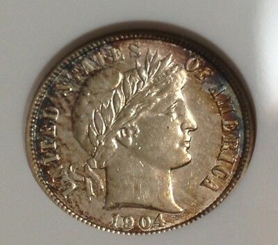 1904p Barber Dime , Nice Color ANACS AU Details ~ Take A Look