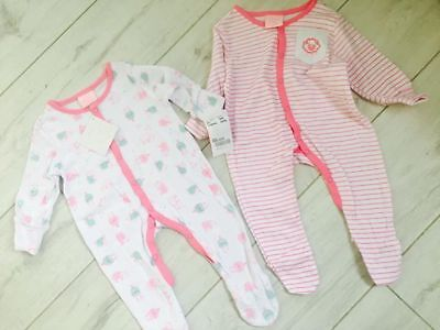 Baby Girls 2 Pack Sleepsuits Babygrow 3-6 months brand new