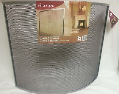 Parasene Black / Pewter (Silver)  Curved Fire Screen 3022, Fire Guard Protector