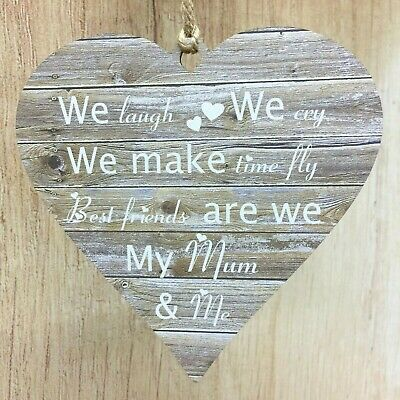 Mothers Day Gift Best Friends My Mum & Me Rustic MDF Wooden Heart Mam Mom Mummy