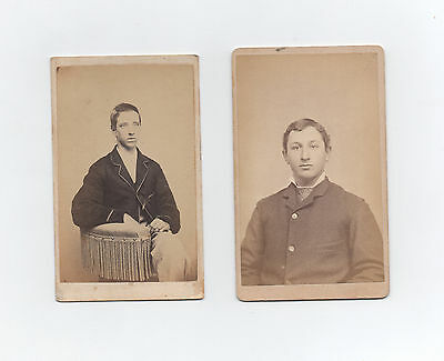 two 1870s CDV photos of Pennsylvania men New Holland Indiana Clark P S Schlauch