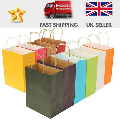 10-Luxury Party Bags Kraft Paper Gift Bag Twisted Handles Recyclable Party Shop