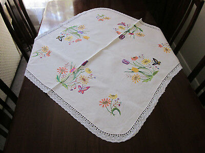 Brightly Hand Embroidered Flowers & Butterflies Afternoon Tea Cloth