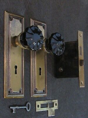 Rare Antique Black Glass Door Knob Lockset - Refurbished and Ready to Install!