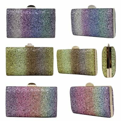 New Multicolour Glitter Shimmer Women's Party Box Shape Clutch Bag