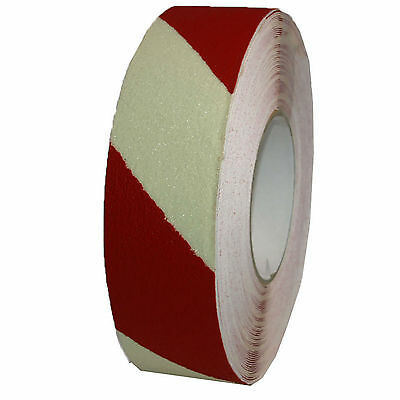 Anti-slip Warning Tape Stripes 50mm Luminescent Self-Adhesive Red Crosshatched