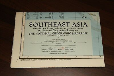 Vintage - NATIONAL GEOGRAPHIC SOCIETY MAPS -          MAP of SOUTHEAST ASIA 1955