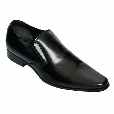 c2d033e7b252 LUCINI MENS FORMAL Shoes Slip On Leather Smart Wedding Pointed Boots ...