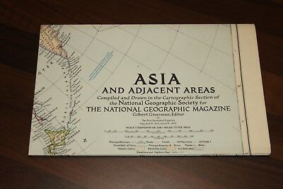 Vintage Cold War Era 1951 National Geographic Map of Asia and Adjacent Areas