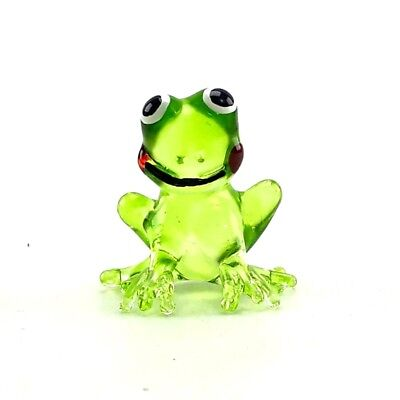 Frog Hand Blown Glass Figurines Miniature Animal Handmade Collectible Decor Gift