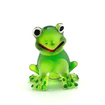 Frog Hand Blown Glass Miniature Figurines Animal Handmade Collectible decor Gift