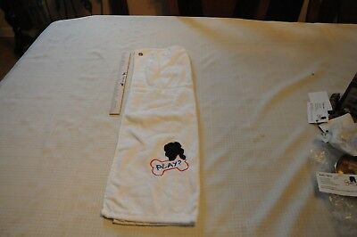 Play? Newfoundland Embroidered White Hand Towel Golf Drool with Grommet New!