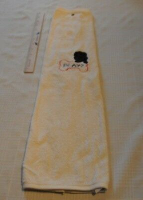 Play? Newfoundland Embroidered Cream Hand Towel Golf Drool with Grommet New!