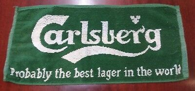 """Vintage Carlsberg Lager Beer Bar Towel """"Probably The Best Lager In The World"""""""
