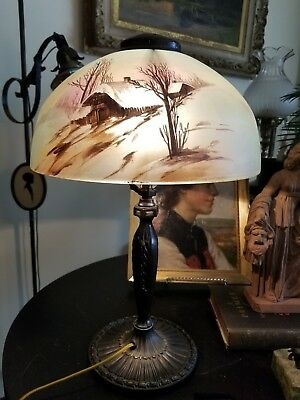 Antique Signed Pittsburgh Electric Reverse Painted Table Lamp Winter Scene 19""