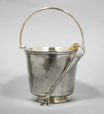 Vintage silver plate ice bucket swing handle large bird chicken claws tongs