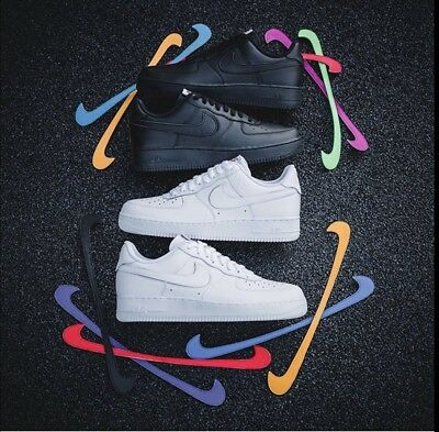 """Nike Air Force 1 Qs - Black / White """"Removable Velcro Swoosh Pack"""" Mens 6 7 8 9+"""