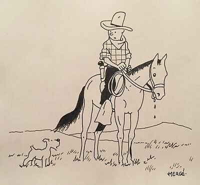 Tintin Cowboy (on Horse) and Milou, Herge Ink Drawing - Lot I