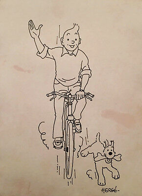 Tintin riding a bicycle and Milou running, Herge Ink Drawing - Lot II