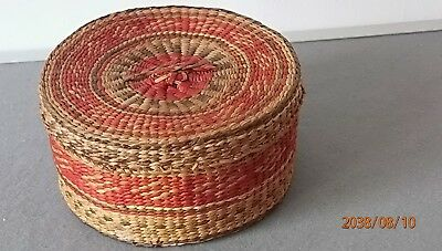 Colorful aged Hand Weaved BOX made from straw and bamboo