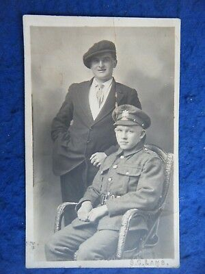 Manchester Regiment Soldier (?) & Friend - Scarce Real Photo Postcard!