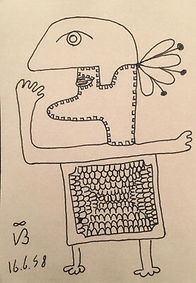 Victor Brauner Ink Drawing, Ink Drawing figure of a man - Lot V