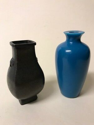 antique chinese Bronze Vase And Glass Vase