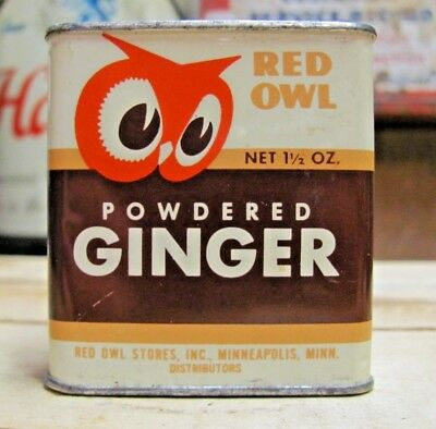 Vintage 1948 Red Owl Spice Tin Powdered GINGER Minneapolis MN Store Minn 1.5 Oz