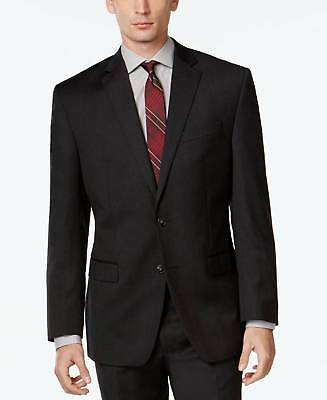 $675 Calvin Klein Mens Slim Fit Wool Sport Coat Charcoal Gray Jacket Blazer 42r