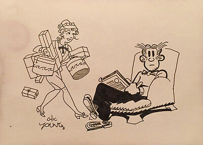 Blondie & Dagwood Chick Young Ink Drawing - Lot VIII