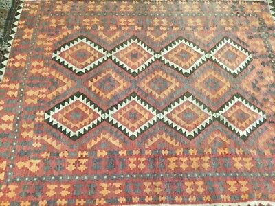"""Kilim Antique Tribal 102.5"""" x 77"""" Rug With 6"""" Tassel GOOD CONDITION"""