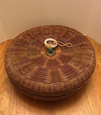 Antique Woven Rattan Asian Round Sewing Basket