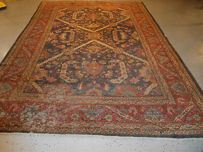 Antique rug Turkish Mahal lovely carpet distressed estate Worn 8 x 11.4 AS IS