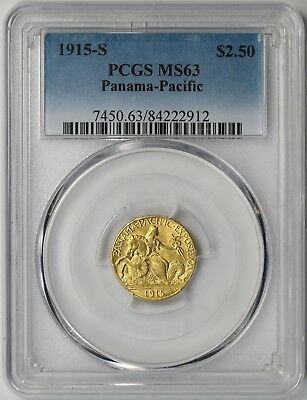 1915-S Panama-Pacific Commemorative Gold $2.5 MS 63 PCGS Pan-Pac