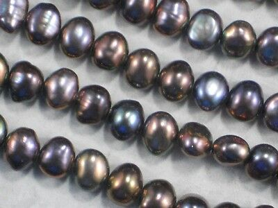 """EXCEPTIONAL! 16/"""" Strand 18x8mm Natural Stick-shaped Pearls BLACK PEACOCK"""