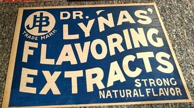 DR. LYNAS FLAVORING EXTRACTS cardboard Advertising Sign 1920s LITHOGRAPH INDIANA