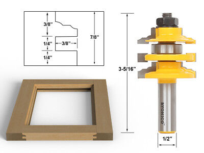 "Classical Ogee Stacked Rail and Stile Router Bit - 1/2"" Shank - Yonico 12120"