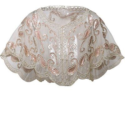 1920s Shawl Wraps Beaded Evening Cape Bridal Shawl Flapper Cover Up
