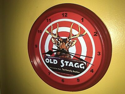 ***Old Stagg Deer Kentucky Bourbon Whiskey Bar Man Cave Red Wall Clock Sign